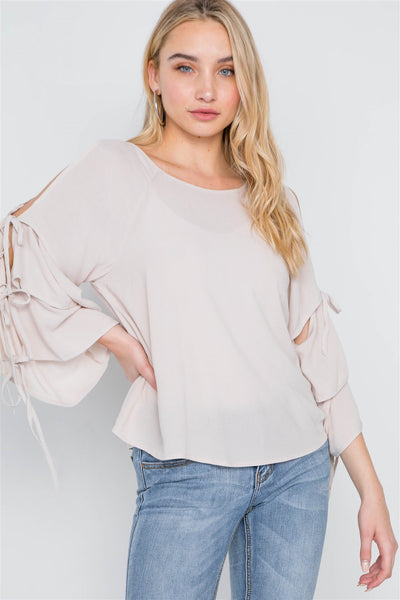 Oatmeal Self-tie Long Bell Sleeves Top