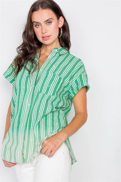 Washed Pinstripe Button Down Top