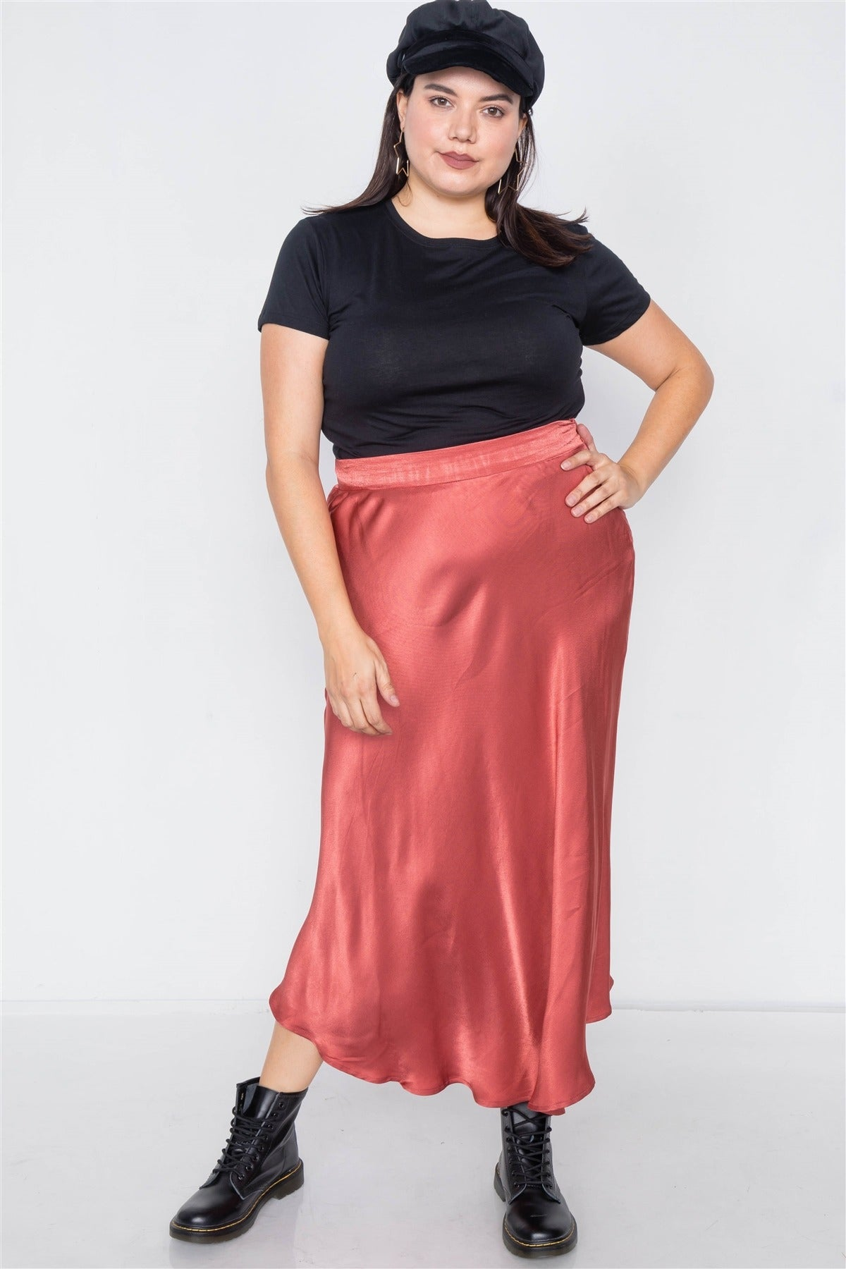 Plus Size Clay Silk Round Hem Midi Skirt