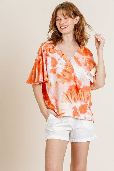 Printed Ruffle Bell Sleeve V-neck Cross Body Top
