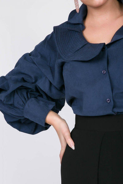 One Side Ruffle Neck Gather Puff Sleeve Button Down Blouse