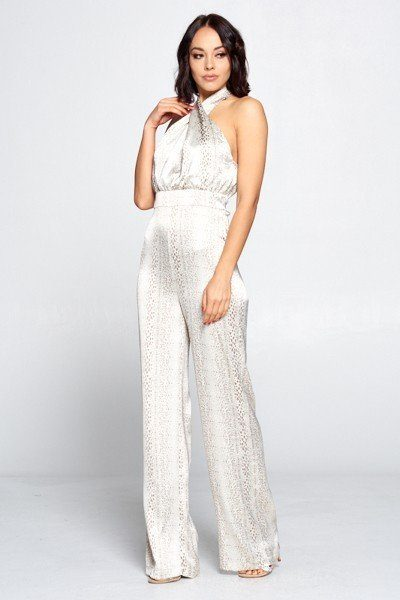 Wrap Front Halter Top Jumpsuit