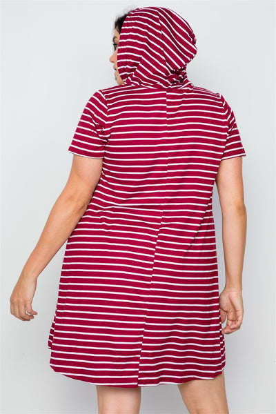 Plus Size Burgundy Stripe Short Sleeve Hooded Shirt Mini Dress