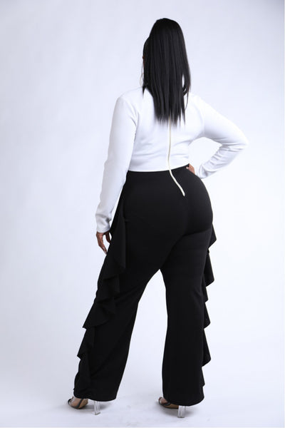 Ruffled Pant Detailed Color Block Jumpsuit