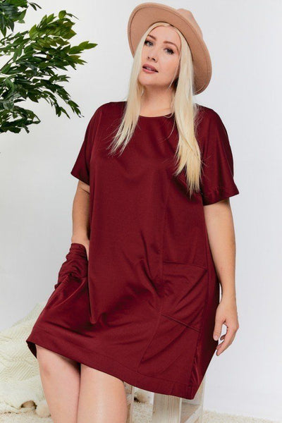 Pleated Back Short Sleeve Solid Dress With Pockets