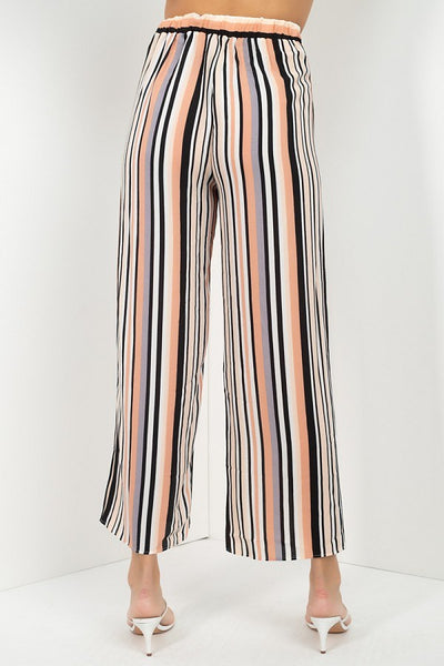 Stripped Scoop Neck Top Wide Leg Pants Set