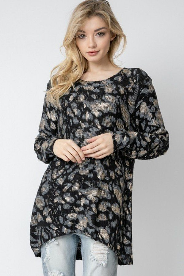 Wild Leopard Animal Print Asymmetrical Hem Cozy Knit Pullover Sweater.