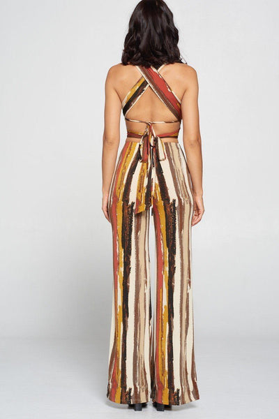 Stripped Cropped Top And Wide Leg Pants Set