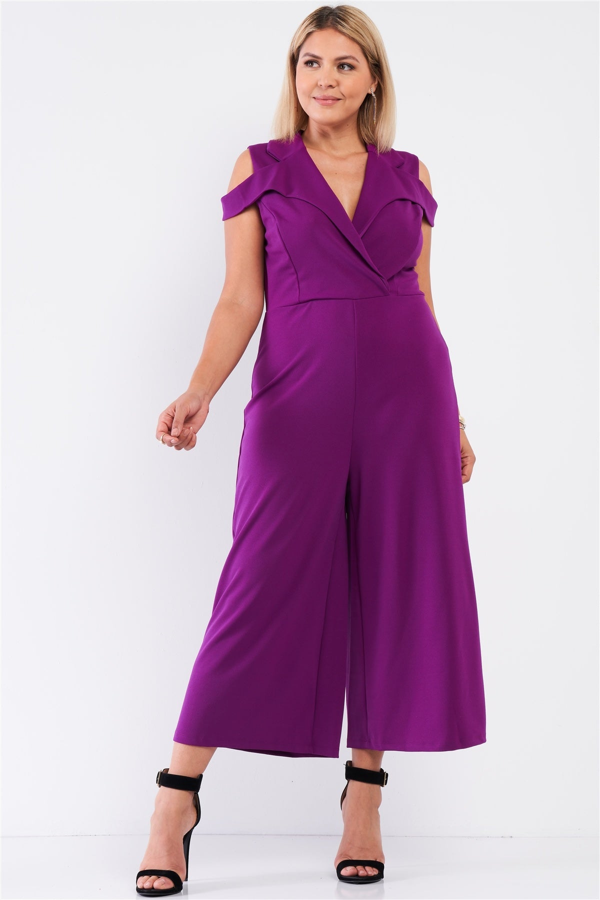 Plus Magenta Sleeveless Collared Plunging V-neck Wide Leg Jumpsuit