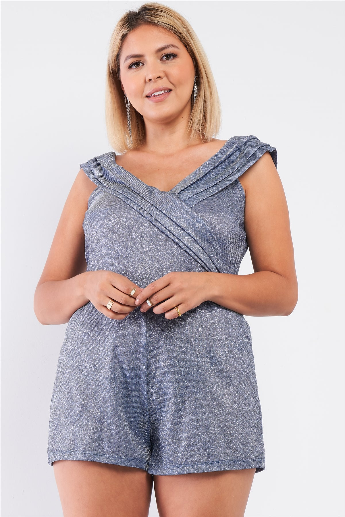 Plus Glimmering Ice Blue Sleeveless Bateau Neck Pleated Wrap Detail Fitted Romper