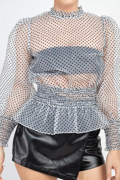 Ruffle Dot Print Smocking Top