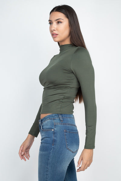 Mock Neck Basic Long Sleeve Top
