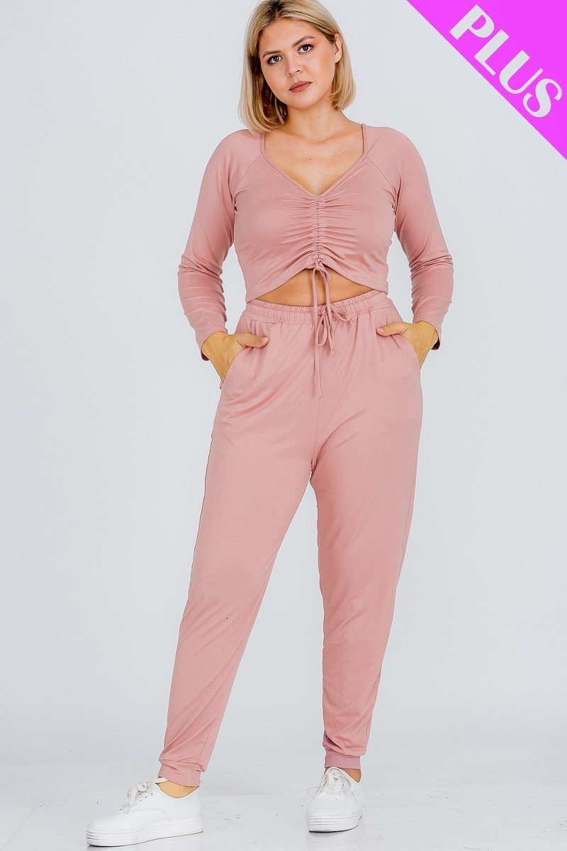 Plus Size Strap Ruched Top And Jogger Pants Set