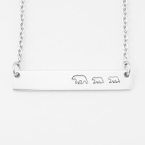 RETIRING STYLE Mama Bear with Two Cubs Necklace