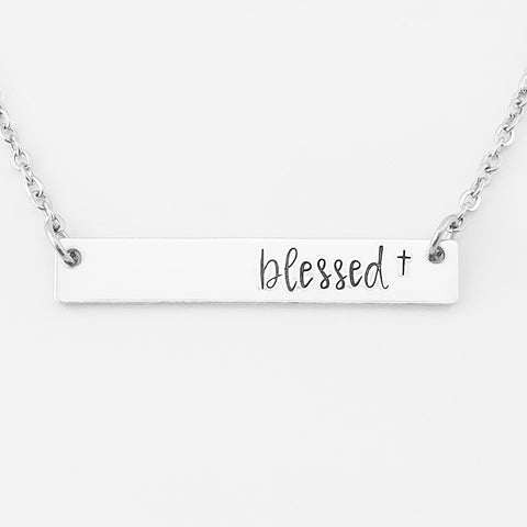 RETIRING STYLE Blessed Bar Necklace