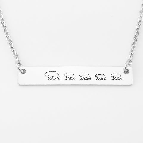 RETIRING STYLE Mama Bear with Four Cubs Necklace