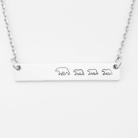 RETIRING STYLE Mama Bear with Three Cubs Necklace