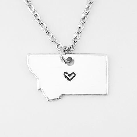 RETIRING STYLE Mini Aluminum Love Your State Necklace