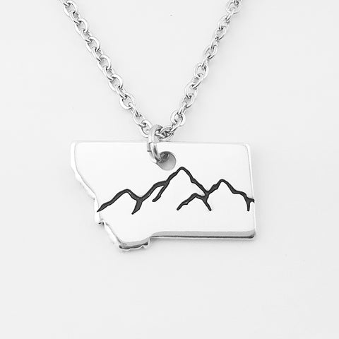 Aluminum Montana Mountains Necklace