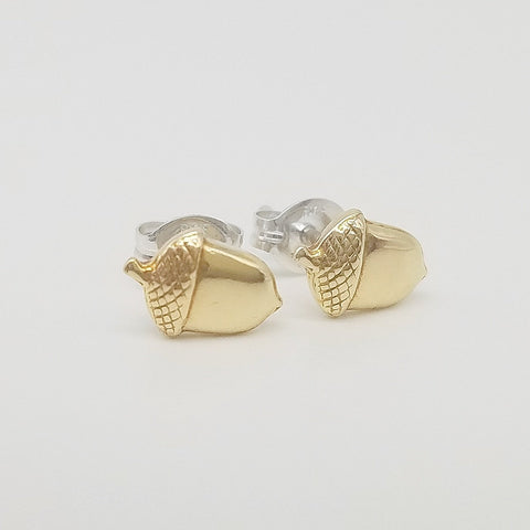 Acorn Brass Stud Earrings