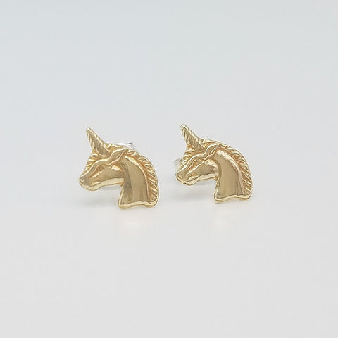 Unicorn Brass Stud Earrings