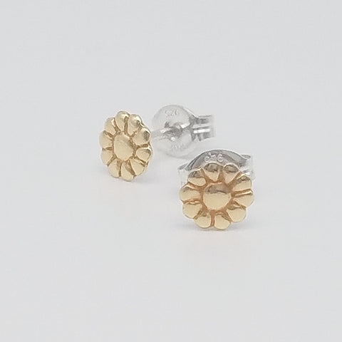 Daisy Brass Stud Earrings