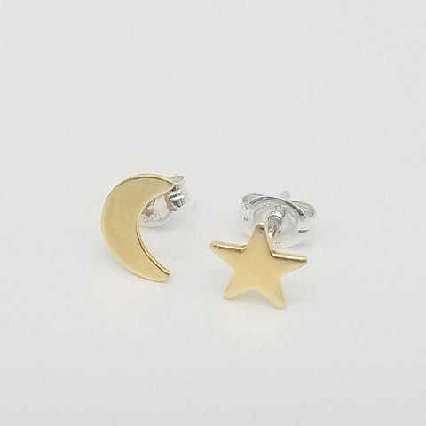 Brass Star and Moon Stud Earrings