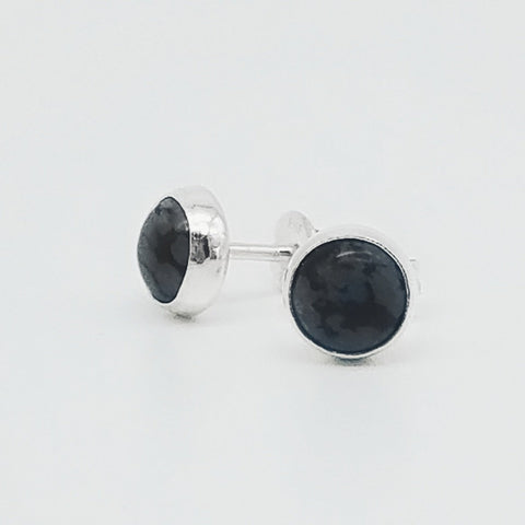 Snowflake Obsidian Stud Earrings - 6mm