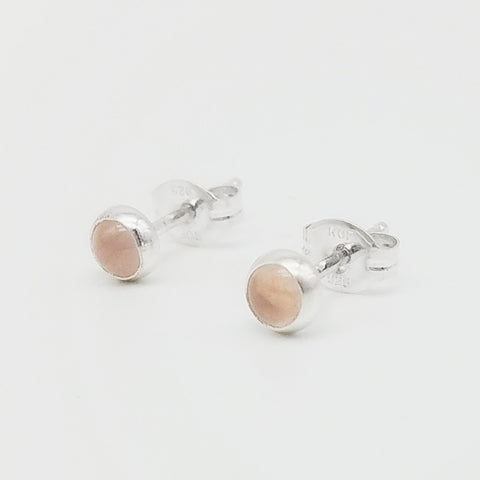 Rose Quartz Stud Earrings - 4mm