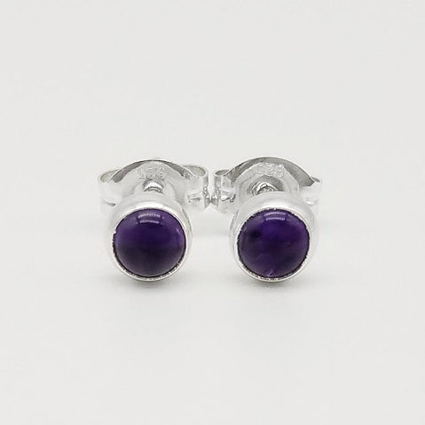 Amethyst Stud Earrings - 4mm
