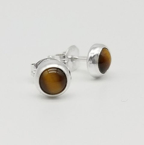 Tiger's Eye Stud Earrings - 5mm