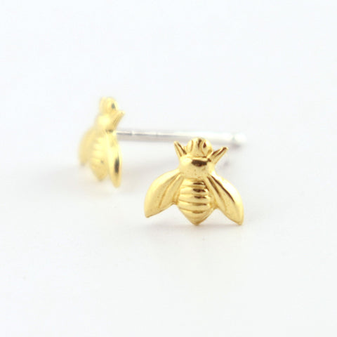Honey Bee Brass Stud Earrings