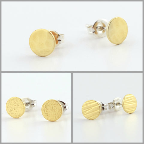 Brass Circle Post Earrings Set