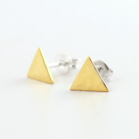 Hammered Brass Triangle Post Earrings
