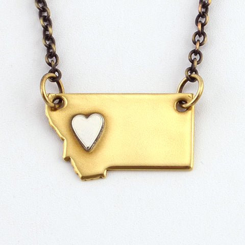 Brass Montana Necklace with Silver Heart over West