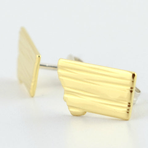 Brass Montana Post Earrings--Lines Texture