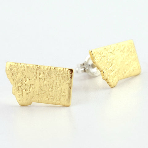 Brass Montana Post Earrings--Stardust Texture
