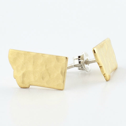 Brass Montana Post Earrings--Traditional Hammered Texture