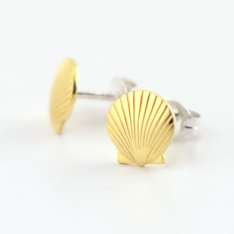 Seashell Brass Stud Earrings