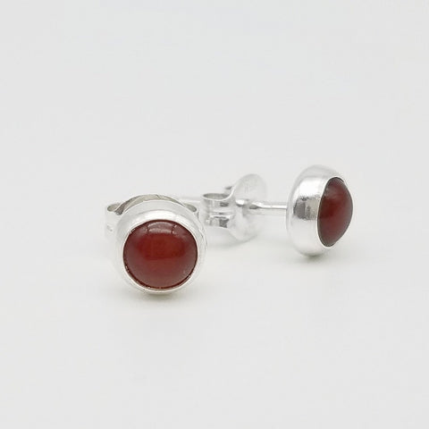 Carnelian Stud Earrings - 5mm