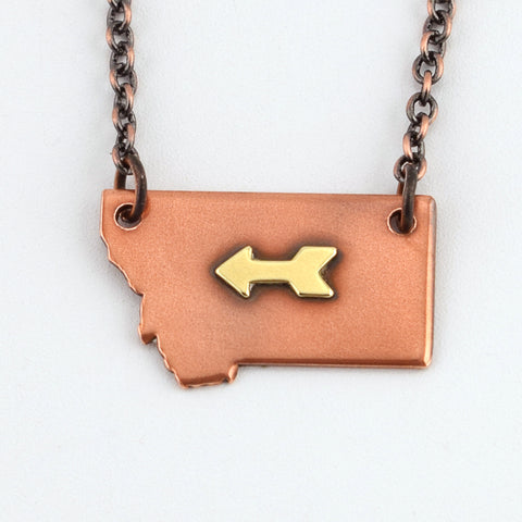 Copper Montana Necklace with Brass Arrow