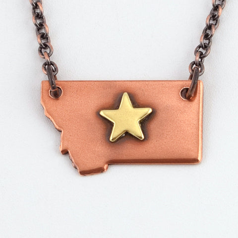 Copper Montana Necklace with Brass Star