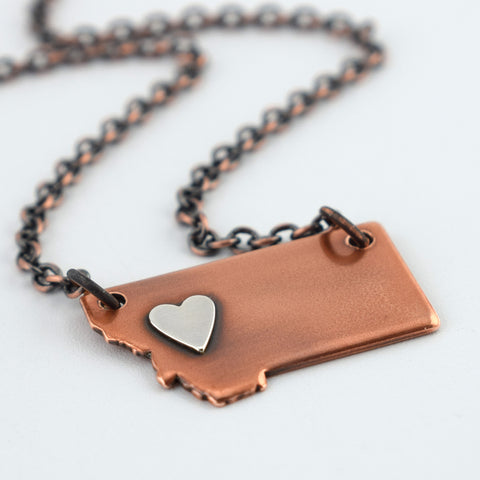Copper Montana Necklace with Silver Heart over West
