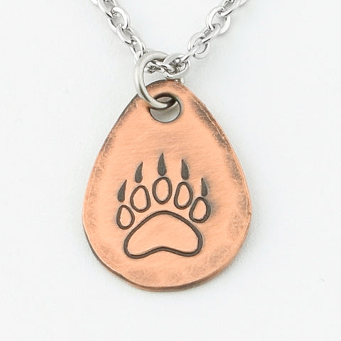 Bear Paw Necklace--Copper