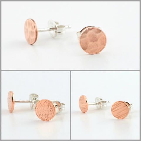 Copper Circle Post Earrings Set