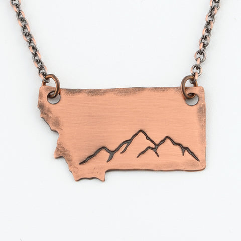 RETIRING STYLE Copper Montana Mountains Necklace