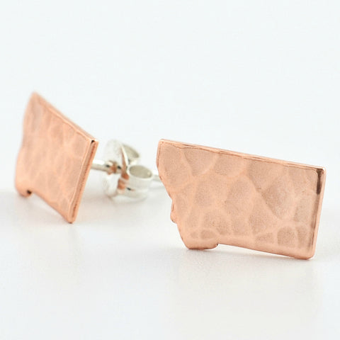 Copper Montana Post Earrings--Traditional Hammered Texture