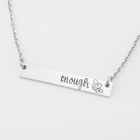 RETIRING STYLE Enough Bar Necklace