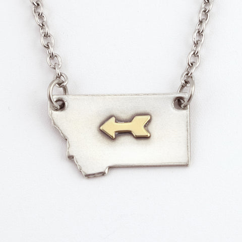 Fine Silver Montana Necklace with Brass Arrow