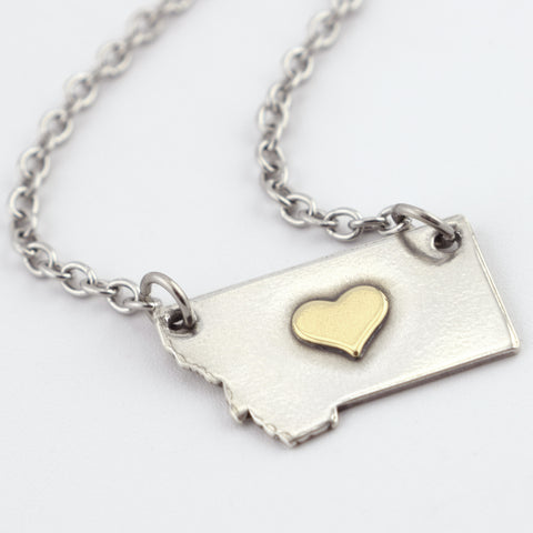 Fine Silver Montana Necklace with Brass Center Heart